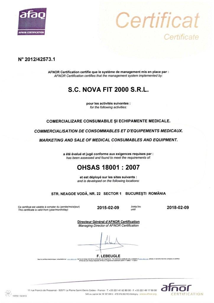 OHSAS NOVA FIT 18001